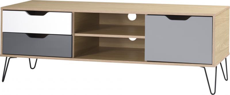 Bergen 1 Door 2 Drawer Tv Unit In Oak Effect/white/grey With Bergen Tv Stands (View 3 of 20)