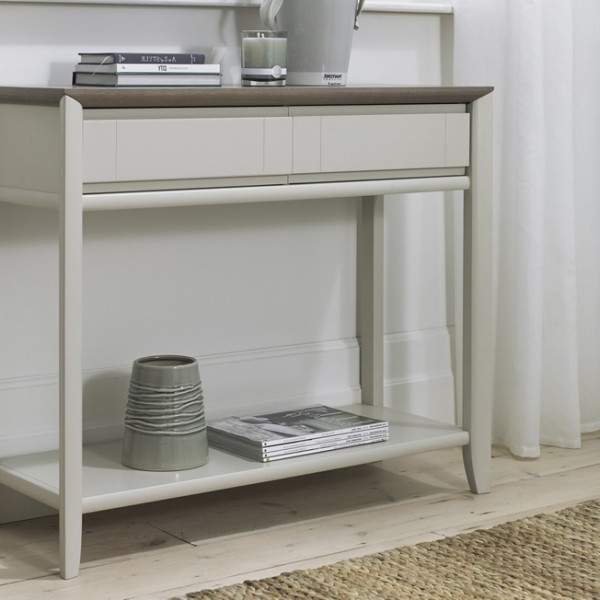 Bergen Oak & Soft Grey Console Table – Frances Hunt Intended For Bergen Tv Stands (View 5 of 20)