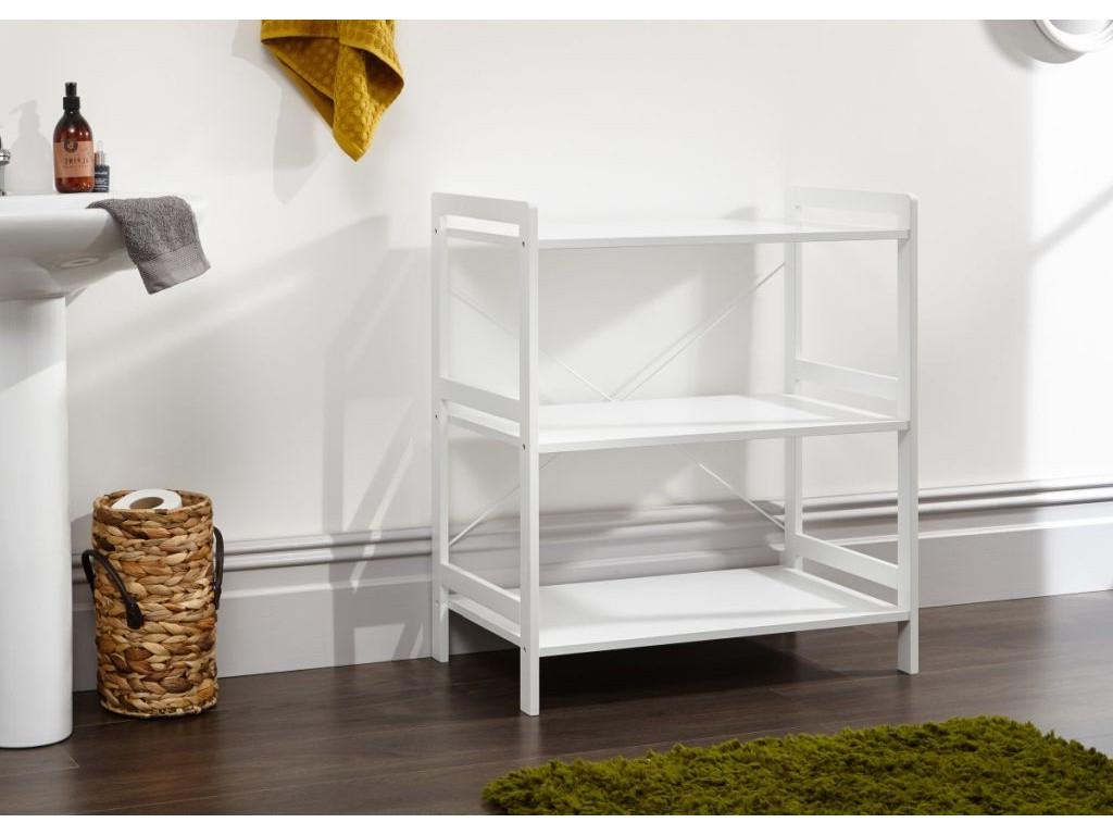 Bergen Style Low Wide Modern White 3 Tier Open Shelf Unit In Bergen Tv Stands (View 14 of 20)