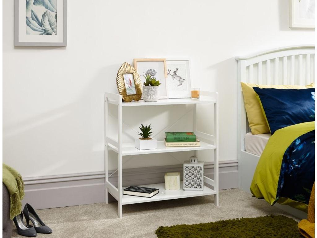 Bergen Style Low Wide Modern White 3 Tier Open Shelf Unit With Regard To Bergen Tv Stands (View 8 of 20)