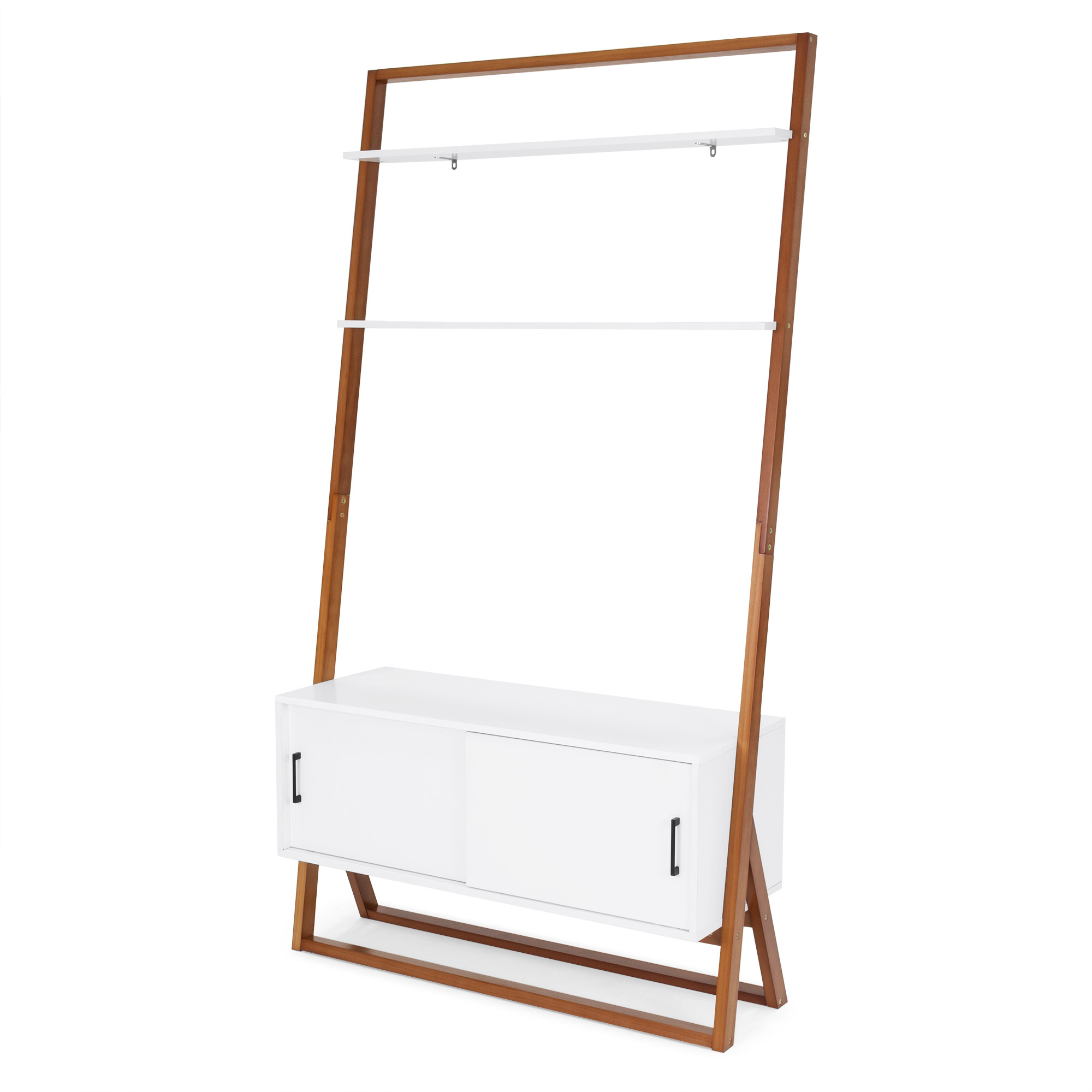 Best Choice Products 42in Modern Wooden Ladder Shelf Tv Inside Tiva White Ladder Tv Stands (View 15 of 20)