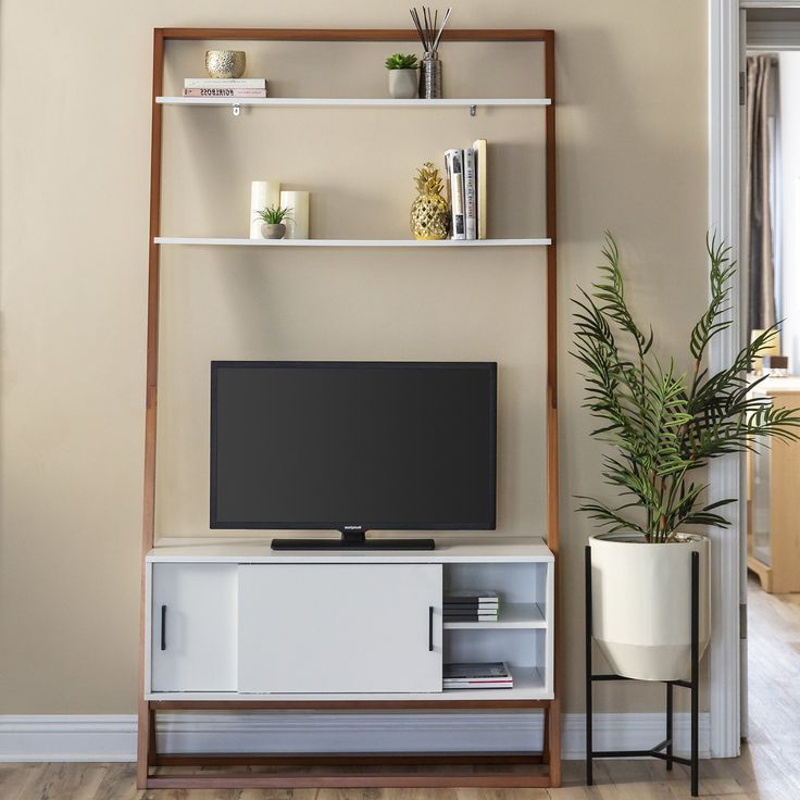 Best Choice Products 42in Modern Wooden Ladder Shelf Tv Throughout Tiva White Ladder Tv Stands (View 16 of 20)