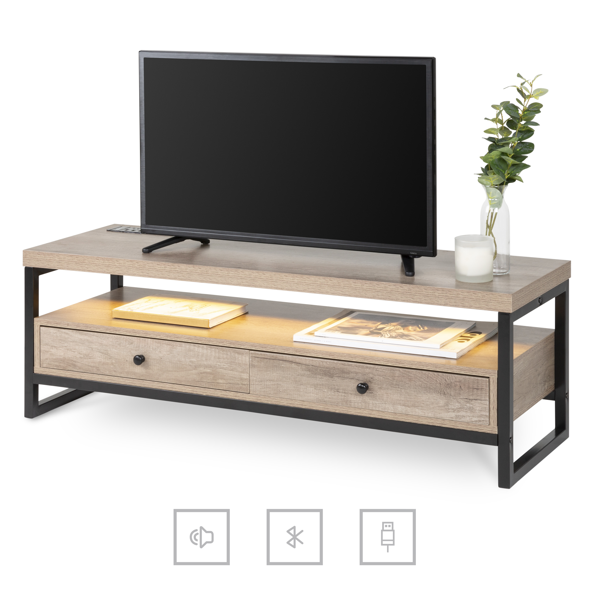 Best Choice Products Modern Bluetooth Tv Storage Stand In 57'' Tv Stands With Led Lights Modern Entertainment Center (View 18 of 20)