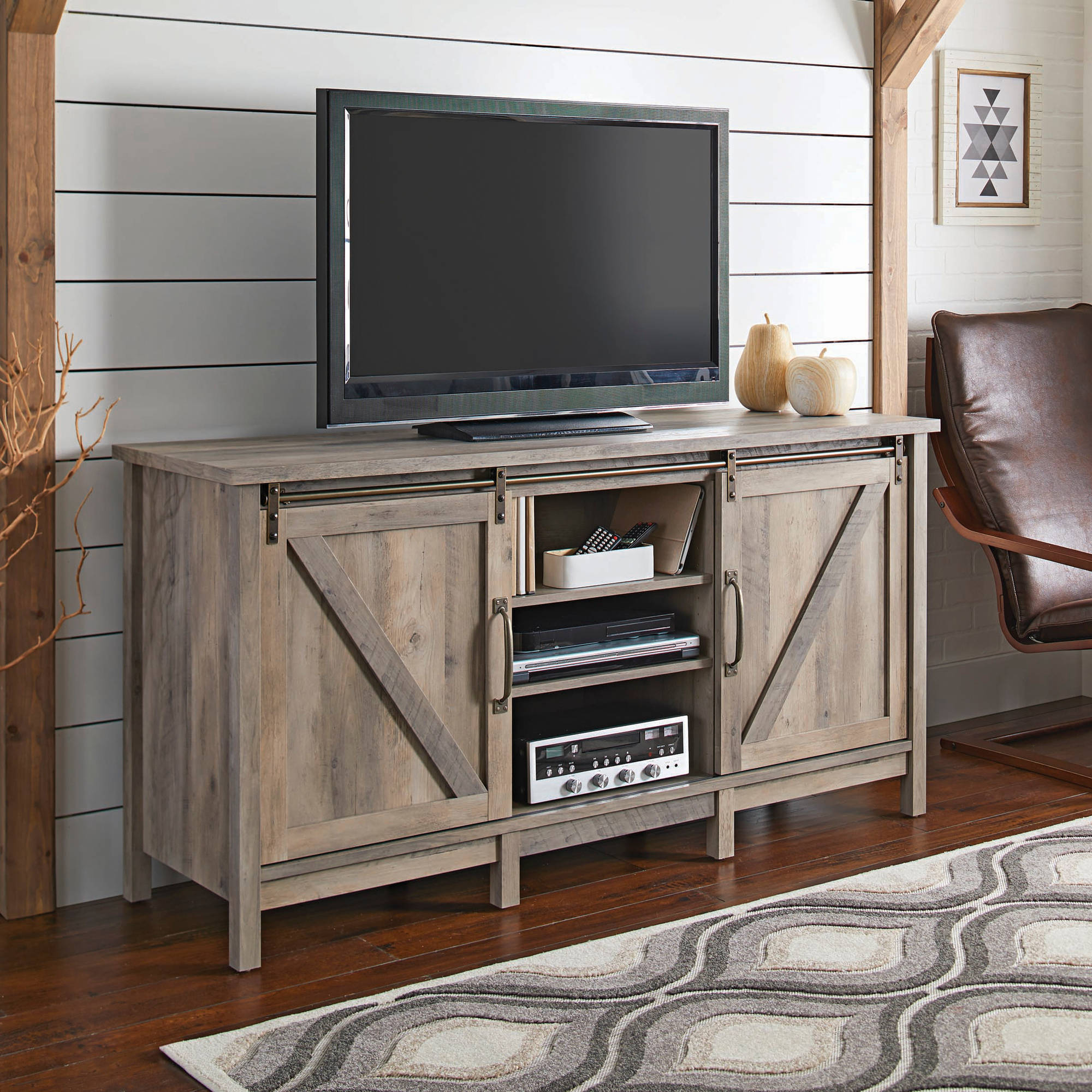 Better Homes And Gardens Modern Farmhouse Tv Stand For Tvs With Regard To Robinson Rustic Farmhouse Sliding Barn Door Corner Tv Stands (View 2 of 20)