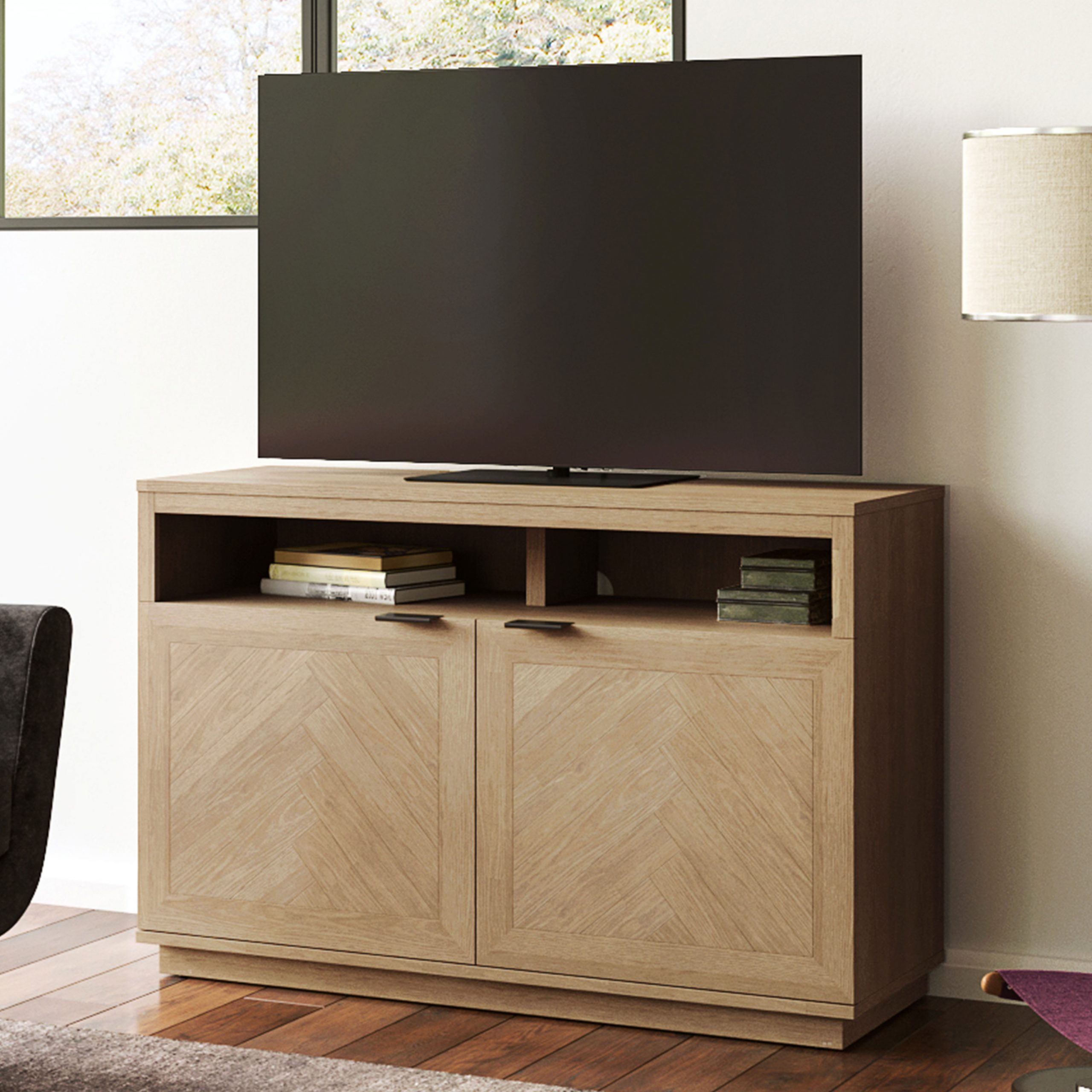 """Better Homes & Gardens Hendrix Herringbone Style Tv Stand Regarding Twila Tv Stands For Tvs Up To 55"""" (View 10 of 20)"""