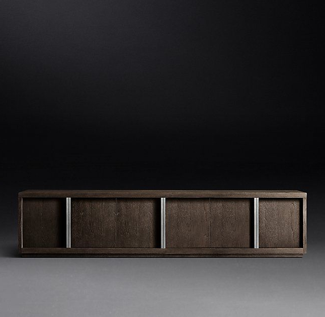 Bezier Panel 6 Door Media Console | Game Room Bar, Loft Throughout Media Console Cabinet Tv Stands With Hidden Storage Herringbone Pattern Wood Metal (View 11 of 20)