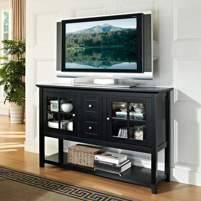Black 52 Inch Wood Console Table Tv Stand – Contemporary In Modern Black Floor Glass Tv Stands For Tvs Up To 70 Inch (View 16 of 20)
