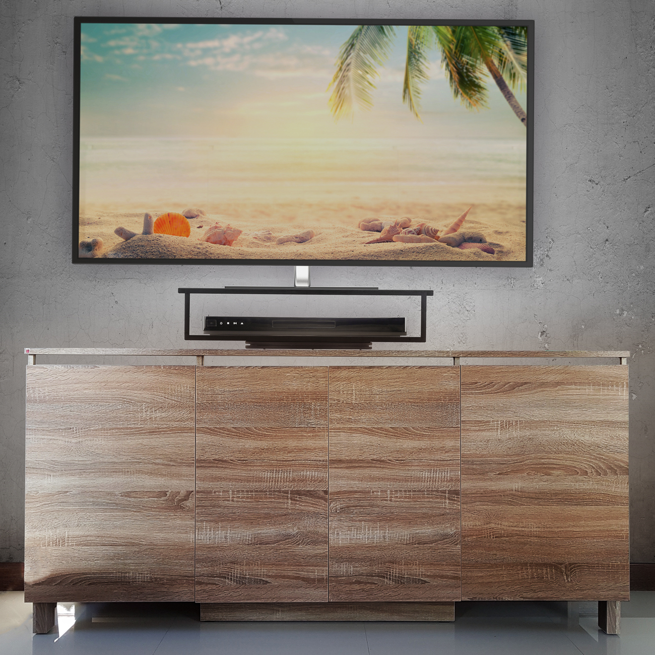 Black Bamboo 2 Tier Tv Swivel Stand – Prosumer's Choice Pertaining To Tier Entertainment Tv Stands In Black (View 17 of 20)