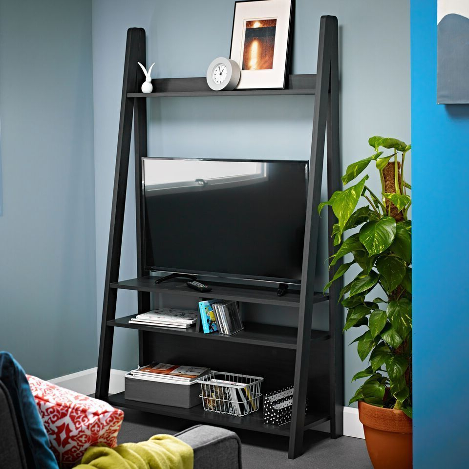 Black Charcoal Ladder Display Shelving Unit Tv Television For Tiva White Ladder Tv Stands (View 1 of 20)