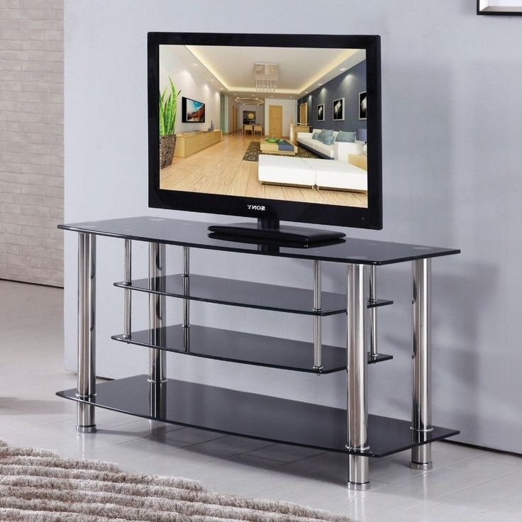 Black Chrome Tiered Tempered Glass Tv Stand Shelves Intended For Modern Black Floor Glass Tv Stands With Mount (View 7 of 20)