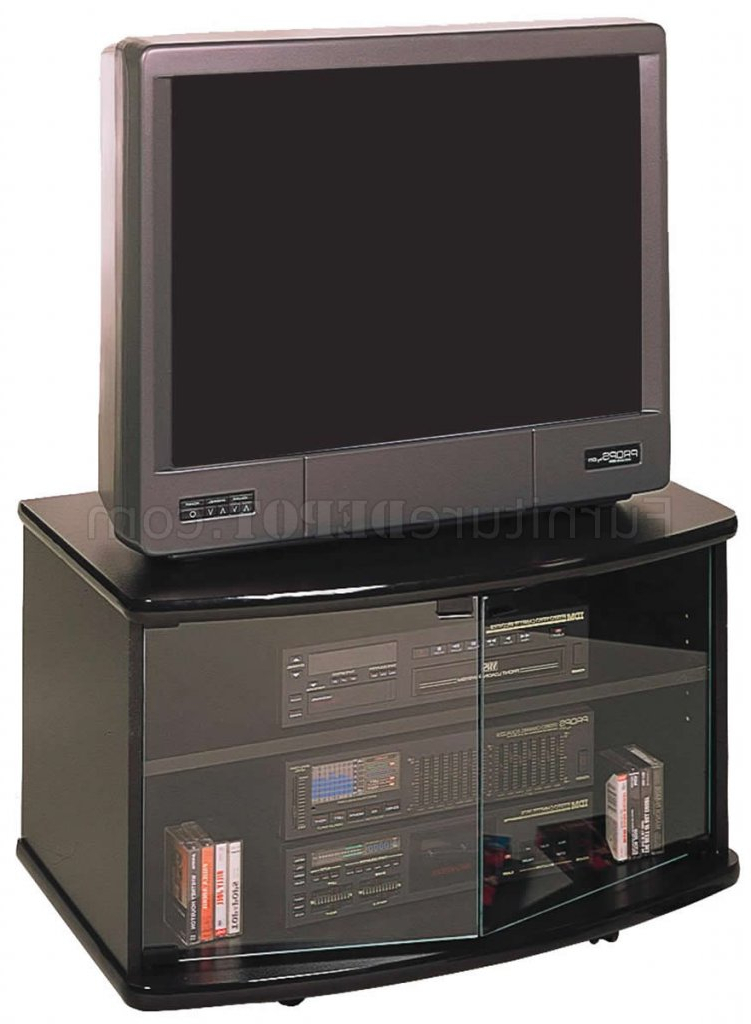 Black Finish Modern Tv Stand W/glass Doors & Casters For Modern 2 Glass Door Corner Tv Stands (View 18 of 20)