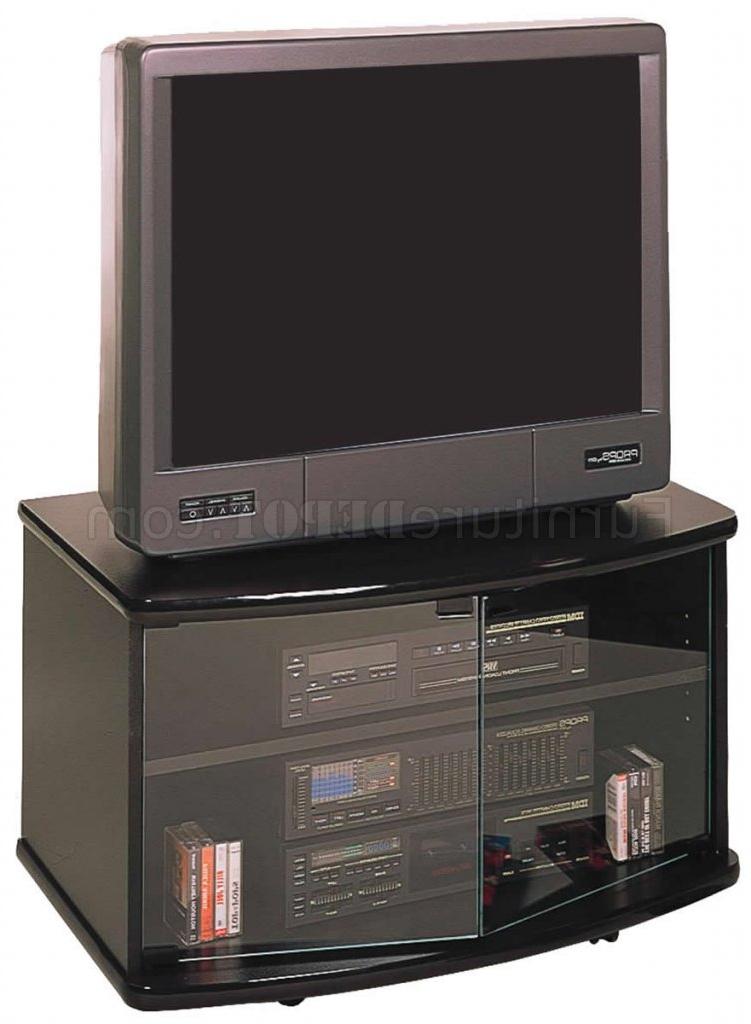 Black Finish Modern Tv Stand W/glass Doors & Casters Regarding Modern 2 Glass Door Corner Tv Stands (View 18 of 20)