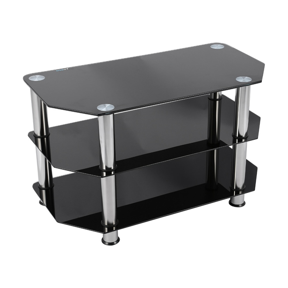 Black Glass 3 Layer Coffee Tables Modern Tv Stand Cabinet In Rfiver Black Tabletop Tv Stands Glass Base (View 18 of 20)