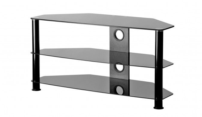 """Black Glass 3 Shelf Tv Corner Stand Up To 47 Inch Tv 