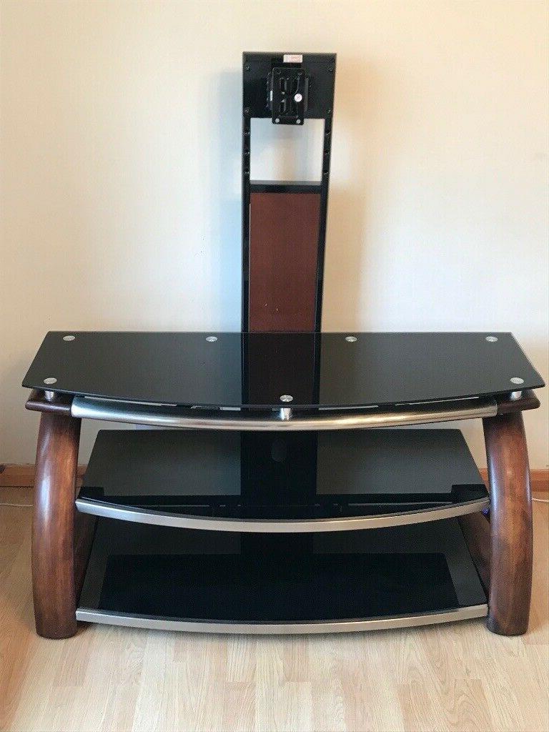 Black Glass 3 Shelf Tv Stand | In Washington, Tyne And In Glass Shelf With Tv Stands (View 16 of 20)