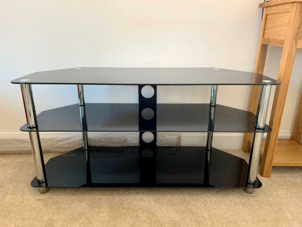 """Black Glass Corner Tv Stand Up To 50 Inch   In Basingstoke Regarding Leonid Tv Stands For Tvs Up To 50"""" (View 14 of 20)"""