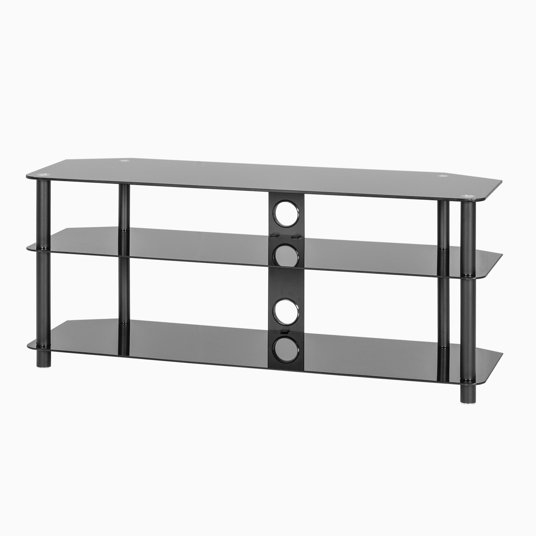 """Black Glass Corner Tv Stand Up To 60 Inch Tv   Mmt Zgbb1200 Inside Glass Shelves Tv Stands For Tvs Up To 50"""" (View 4 of 20)"""