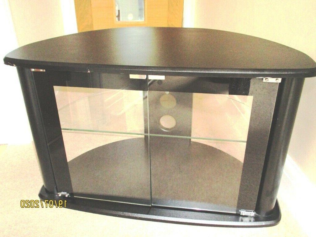 Black & Glass Corner Tv Stand With 2 Doors & Shelf For Tv Intended For Modern 2 Glass Door Corner Tv Stands (View 14 of 20)