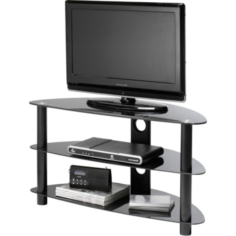 """Black Glass Curved Tv Stand – Up To 42 Inch – Furniture In Glass Doors Corner Tv Stands For Tvs Upto 42"""" (View 15 of 20)"""