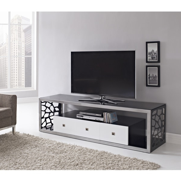 Black Glass Modern 70 Inch Tv Stand – Overstock – 8228557 Inside Tv Stands Fwith Tv Mount Silver/black (View 18 of 20)