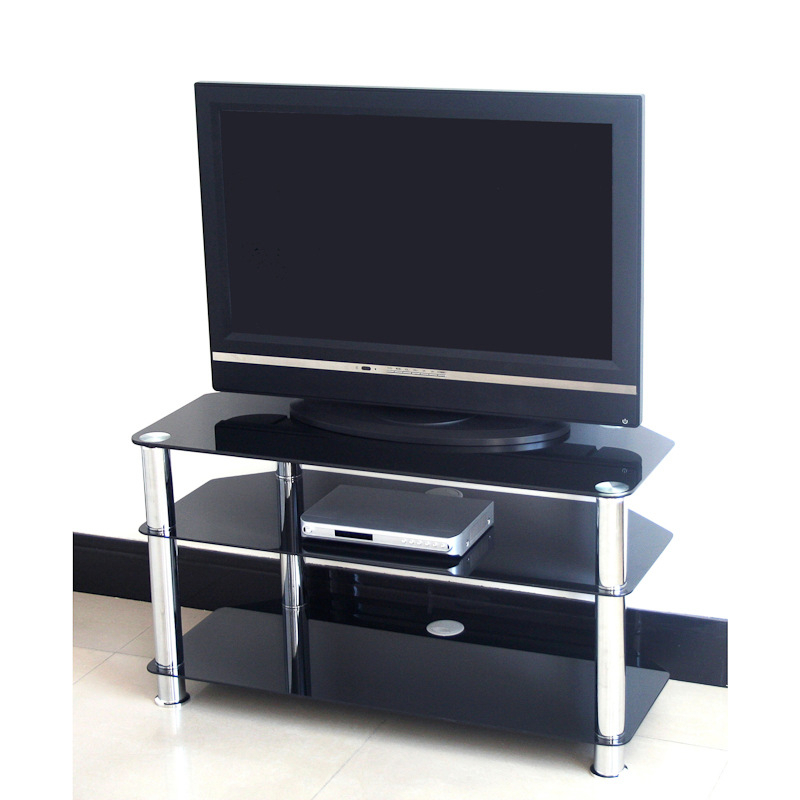 Black Glass Tv Stand 75cm   Television Stands, Tv Cabinets With Tier Entertainment Tv Stands In Black (View 10 of 20)