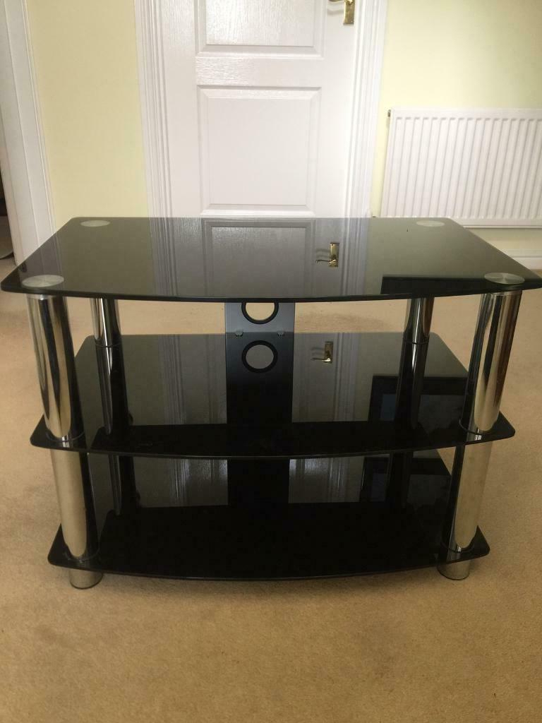 Black Glass Tv Stand | In Norwich, Norfolk | Gumtree Within Rfiver Black Tabletop Tv Stands Glass Base (View 3 of 20)