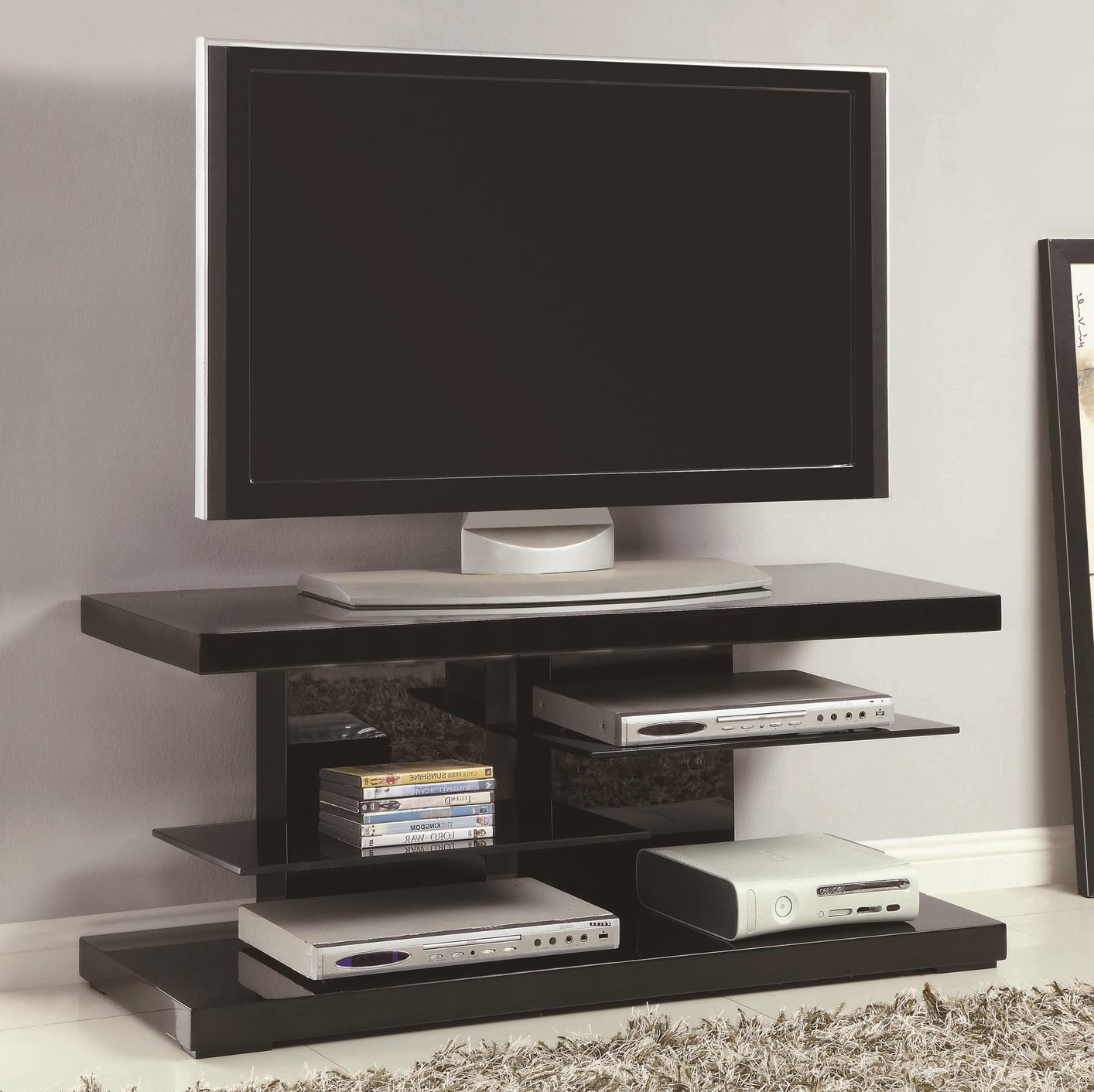 Black Glass Tv Stand – Steal A Sofa Furniture Outlet Los With Regard To Modern Black Floor Glass Tv Stands With Mount (View 1 of 20)
