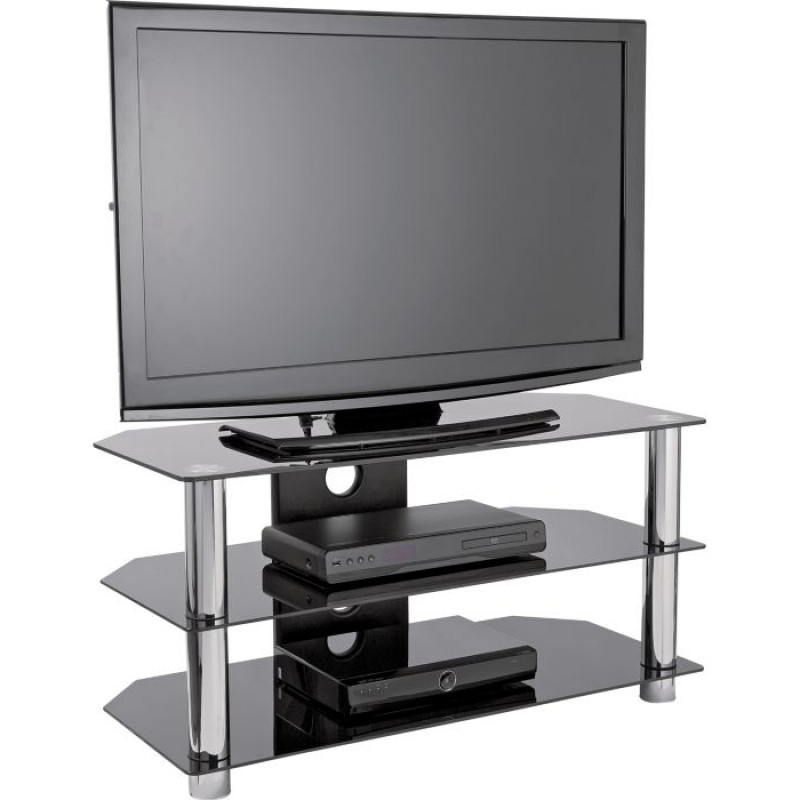 Black Glass Tv Stand With Chrome Legs – Up To 42 Inch Regarding Tv Stands Fwith Tv Mount Silver/black (View 1 of 20)