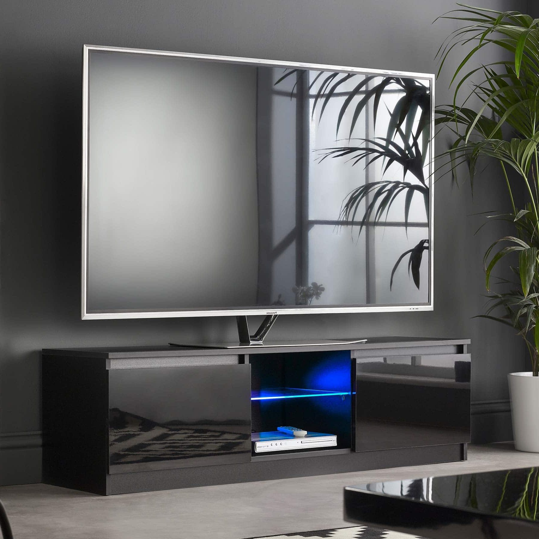 """Black Gloss Cabinet With Blue Led Lights 
