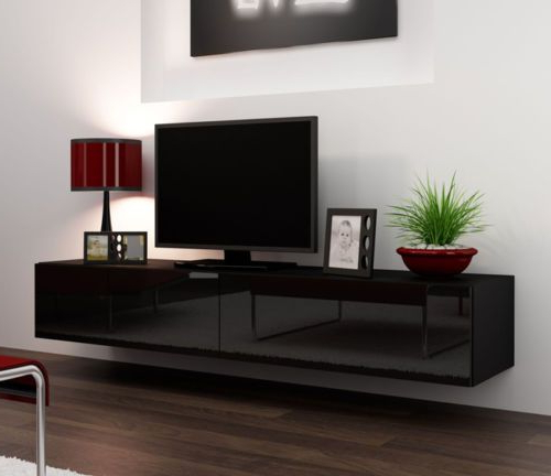 Black Gloss Tv Stands For 42 50 56 75 Inch Flat Screen Pertaining To Modern Black Floor Glass Tv Stands For Tvs Up To 70 Inch (View 5 of 20)