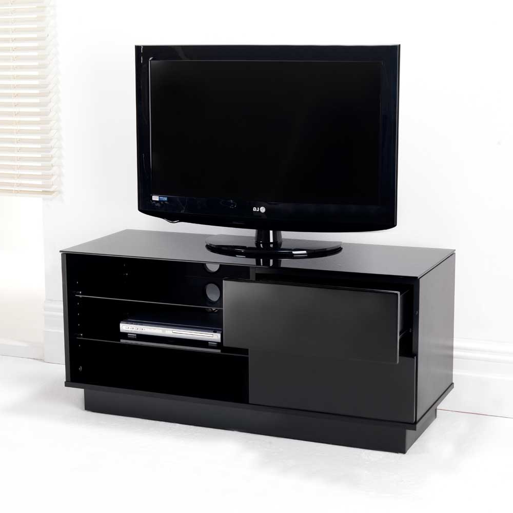 Black Gloss Two Drawer Glass Shelf Lcd Plasma Tv Stand For Glass Shelves Tv Stands (View 5 of 20)