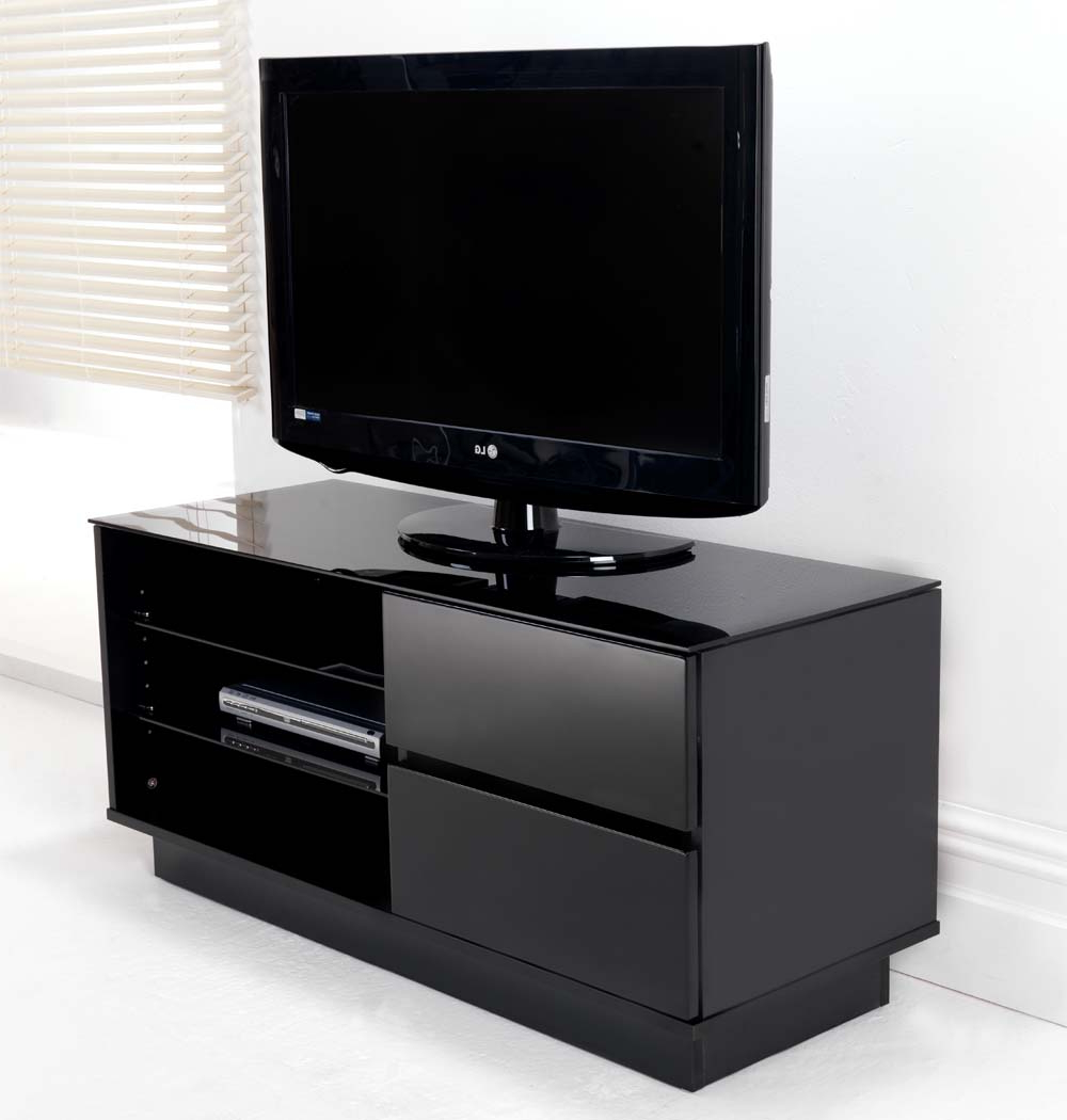 Black Gloss Two Drawer Glass Shelf Lcd Plasma Tv Stand Inside Glass Shelves Tv Stands (View 8 of 20)
