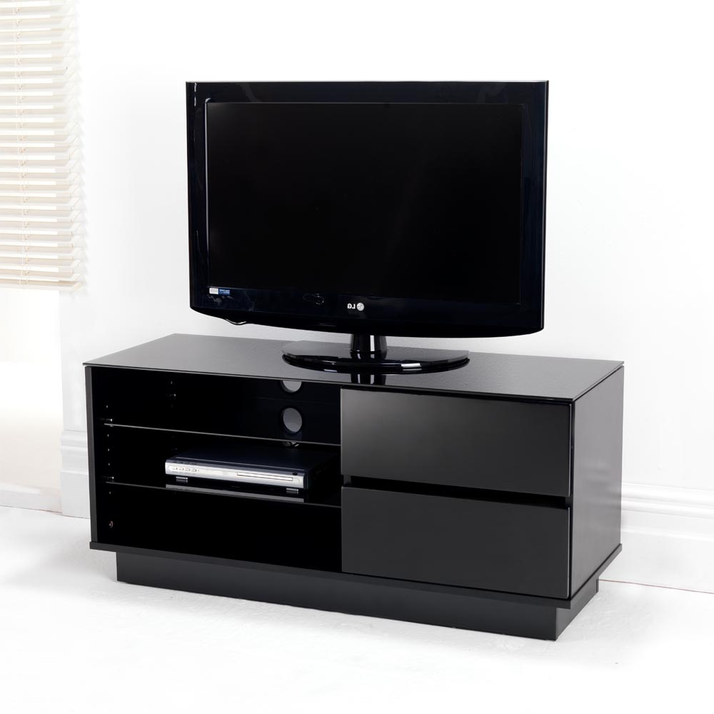 Black Gloss Two Drawer Glass Shelf Lcd Plasma Tv Stand Inside Glass Shelves Tv Stands (View 7 of 20)