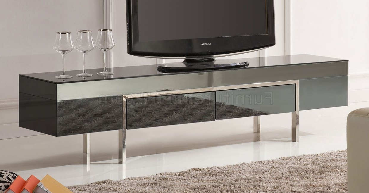 Black High Gloss Laquer Finish Modern Tv Stand W/metal Legs For Tabletop Tv Stands Base With Black Metal Tv Mount (View 11 of 20)