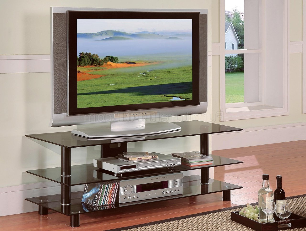 Black Metal & Glass Contemporary Tv Stand W/shelves Inside Tabletop Tv Stands Base With Black Metal Tv Mount (View 4 of 20)