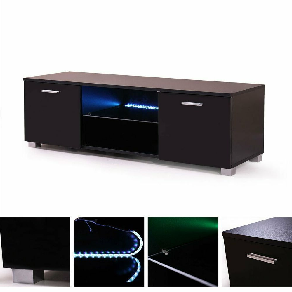 Black Modern Led Tv Cabinet 63'' High Gloss Stand In 57'' Led Tv Stands With Rgb Led Light And Glass Shelves (View 1 of 20)