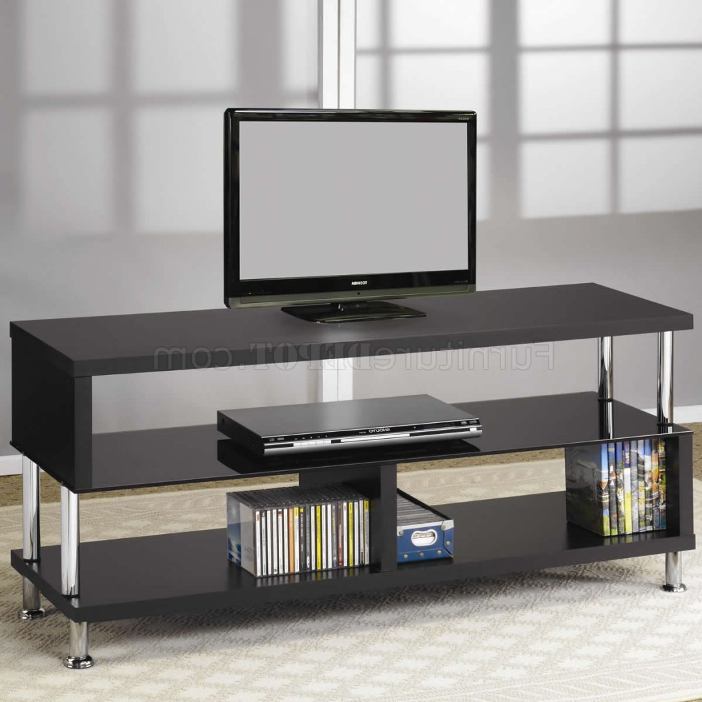 Black Tempered Glass & Chrome Accents Modern Tv Stand In Modern Black Tv Stands On Wheels With Metal Cart (View 10 of 20)