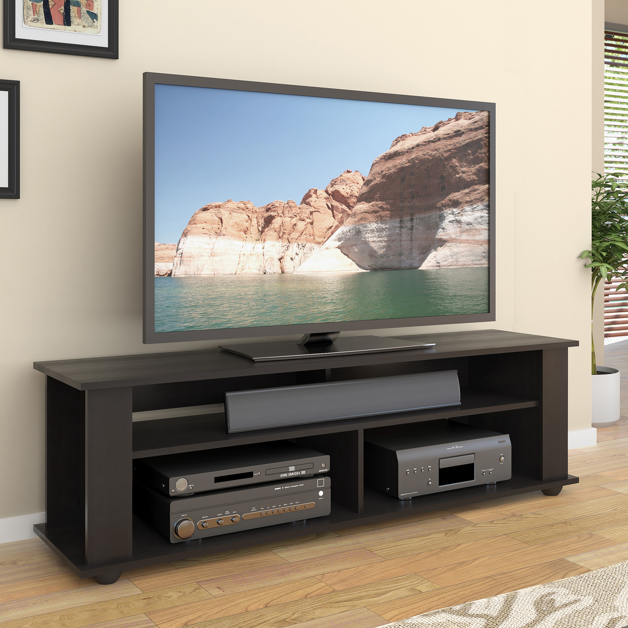 Black Tv Stand For Tvs Up To 65 Inch Entertainment Center Throughout Simple Open Storage Shelf Corner Tv Stands (View 3 of 20)