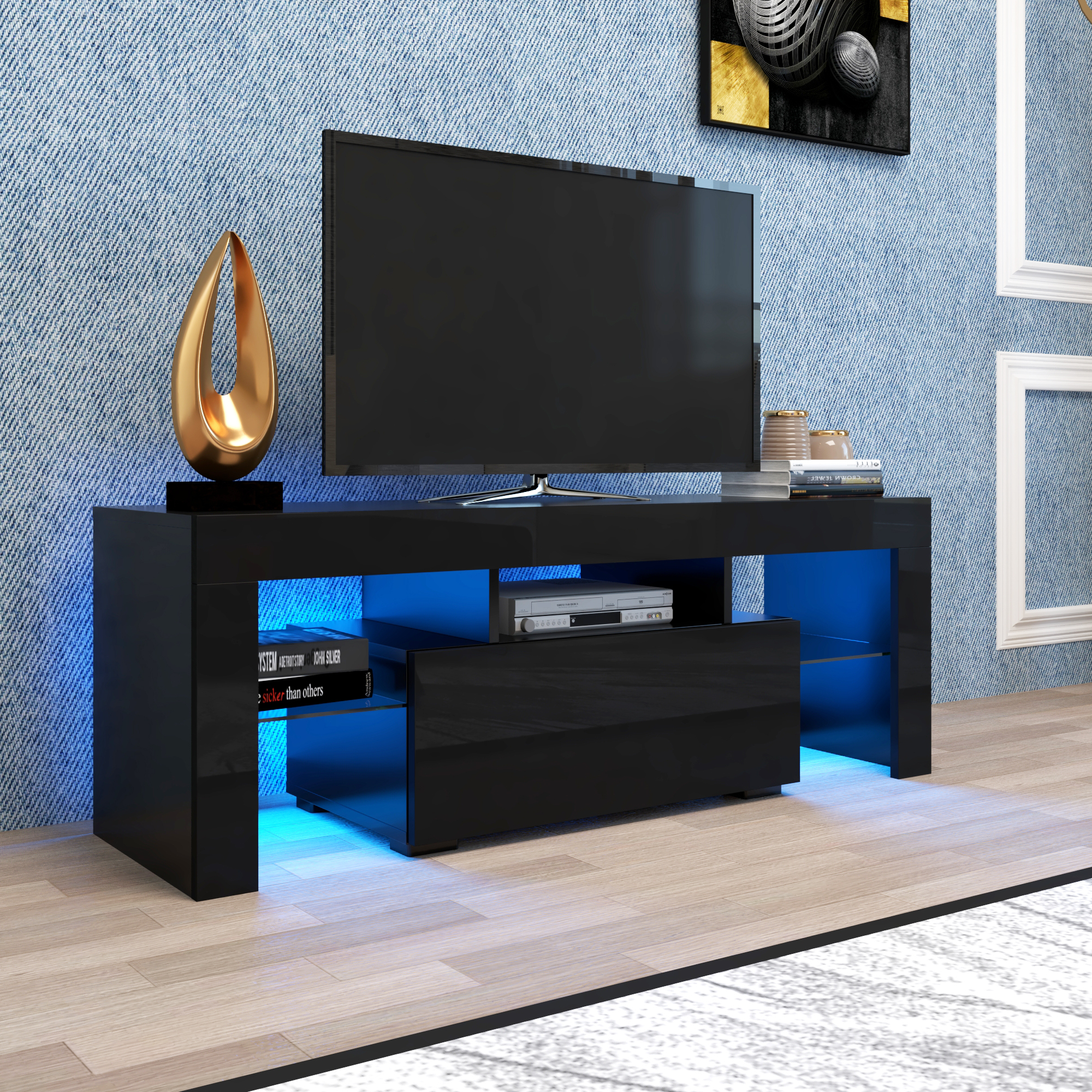 Black Tv Stand For Up To 65 Inch Tv, Yofe High Gloss Tv Intended For 57'' Led Tv Stands Cabinet (View 1 of 20)