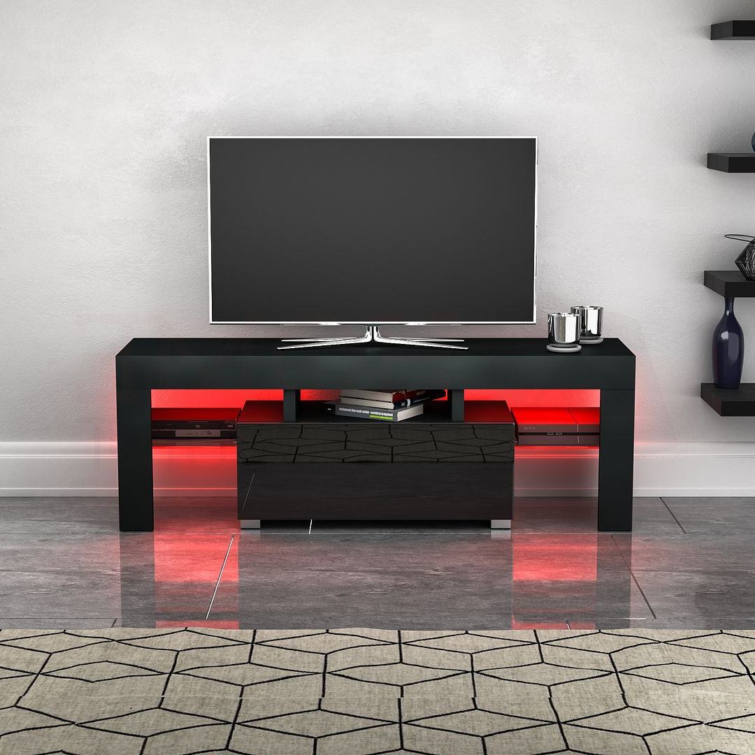 Black Tv Unit Cabinet Stand Led Modern Furniture Mdf Gloss For 57'' Led Tv Stands Cabinet (View 18 of 20)