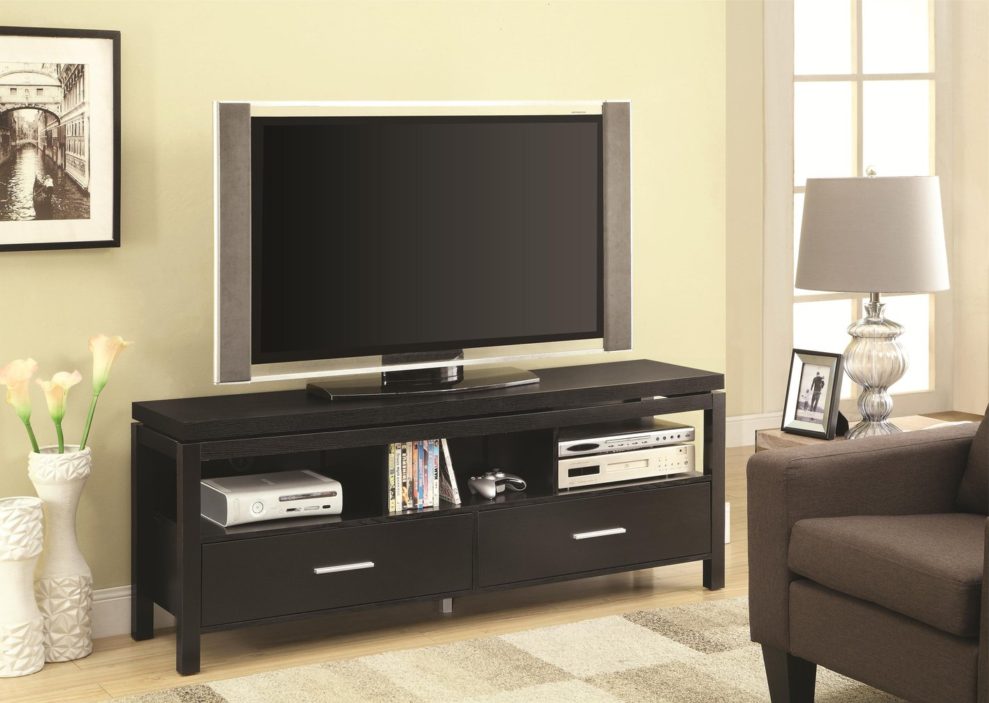 Black Wood Tv Stand – Steal A Sofa Furniture Outlet Los Within Edgeware Black Tv Stands (View 18 of 20)