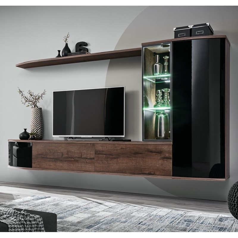 Bmf Dark Wall Unit 180cm Wide Floating Tv Stand Cabinets For Galicia 180cm Led Wide Wall Tv Unit Stands (View 8 of 20)