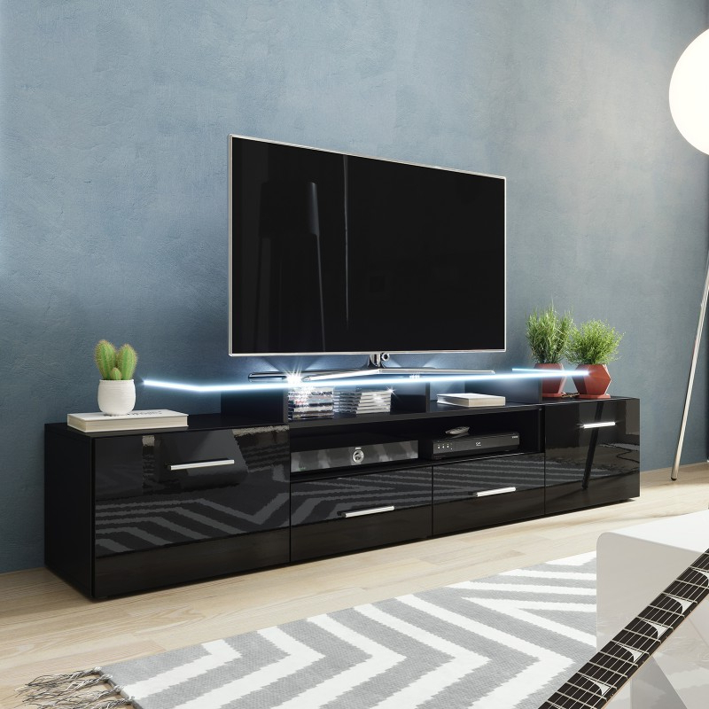 Bmf Evora Black Tv Stand 194cm Wide Black High Gloss Led Intended For Greenwich Wide Tv Stands (View 12 of 20)
