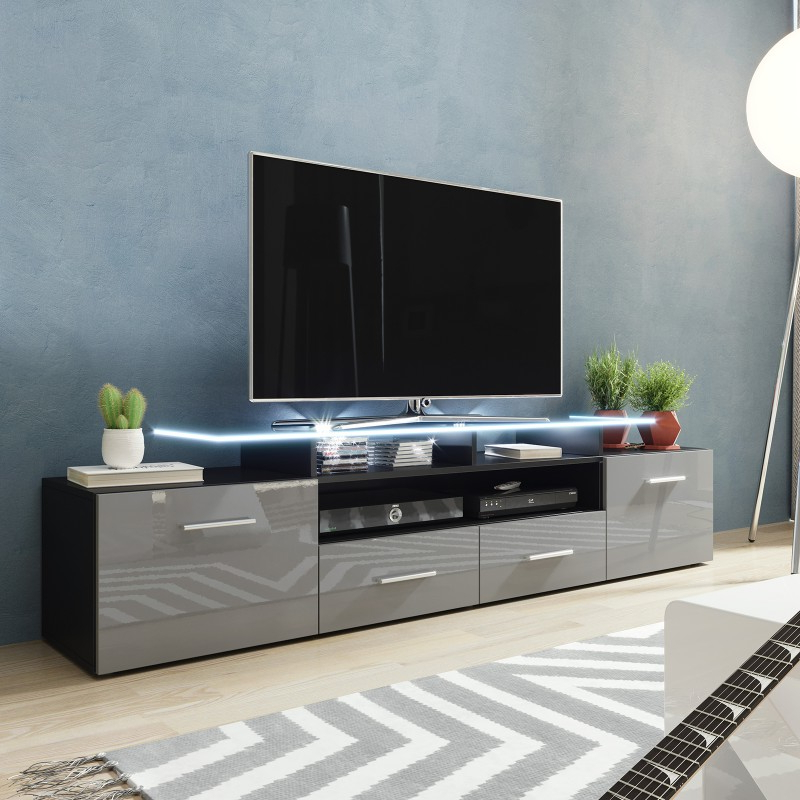 Bmf Evora Black Tv Stand 194cm Wide Grey High Gloss Led Inside Dillon Black Tv Unit Stands (View 8 of 20)