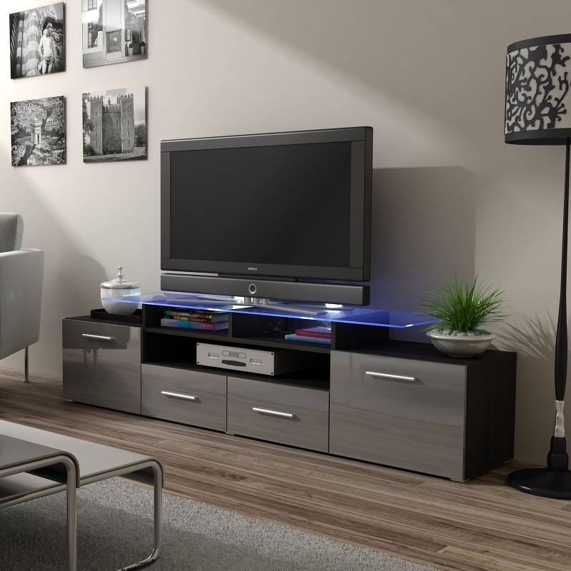 Bmf Evora Wenge Tv Stand 194cm Wide Grey High Gloss Led Regarding Zimtown Tv Stands With High Gloss Led Lights (View 8 of 20)