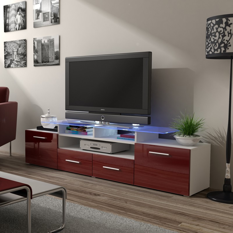 Bmf Evora White Tv Stand 194cm Wide Burgundy High Gloss Throughout Oliver Wide Tv Stands (View 8 of 20)