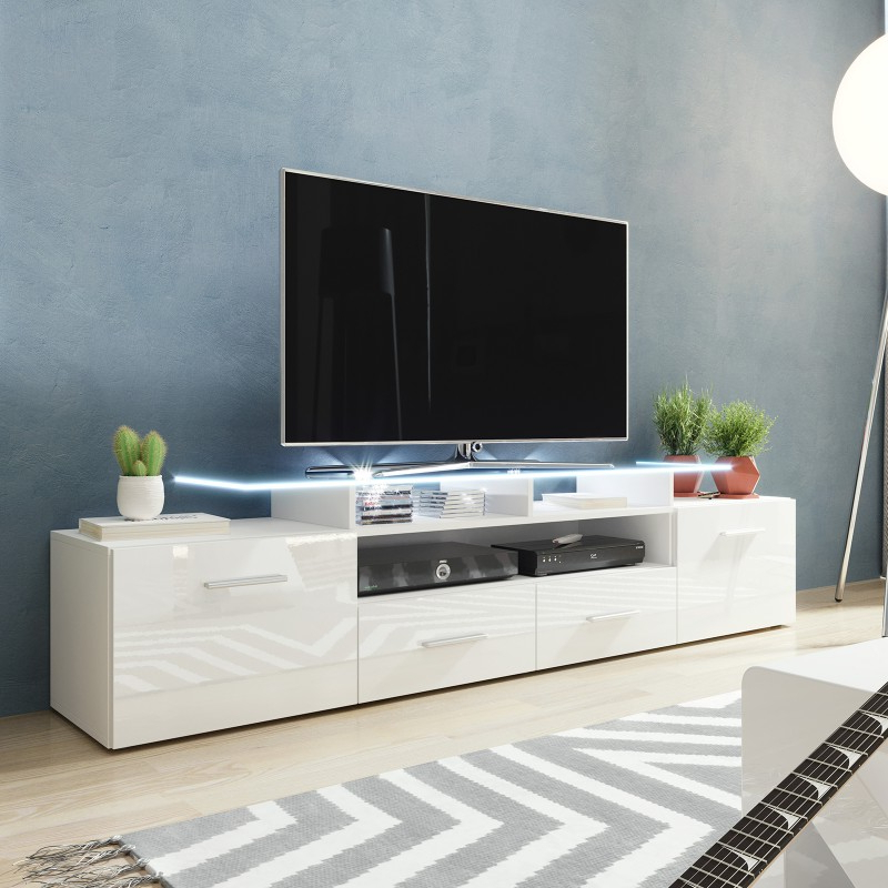 Bmf Evora White Tv Stand 194cm Wide White High Gloss Led Regarding Jackson Wide Tv Stands (View 18 of 20)