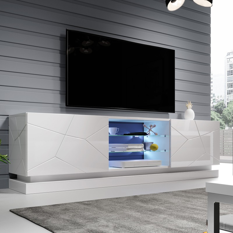 Bmf Qiu Tv Stand 200cm Wide White High Gloss Led Lights Within Milano White Tv Stands With Led Lights (View 13 of 20)
