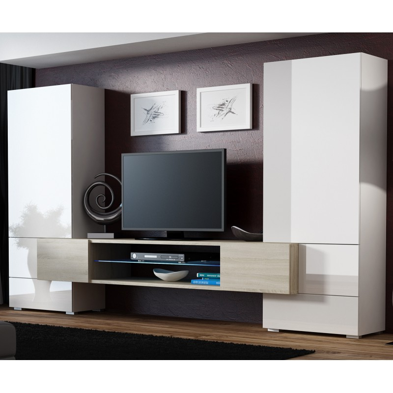 Bmf Tori 2 Wall Unit Sonoma Oak White High Gloss Led Pertaining To Milano White Tv Stands With Led Lights (View 12 of 20)