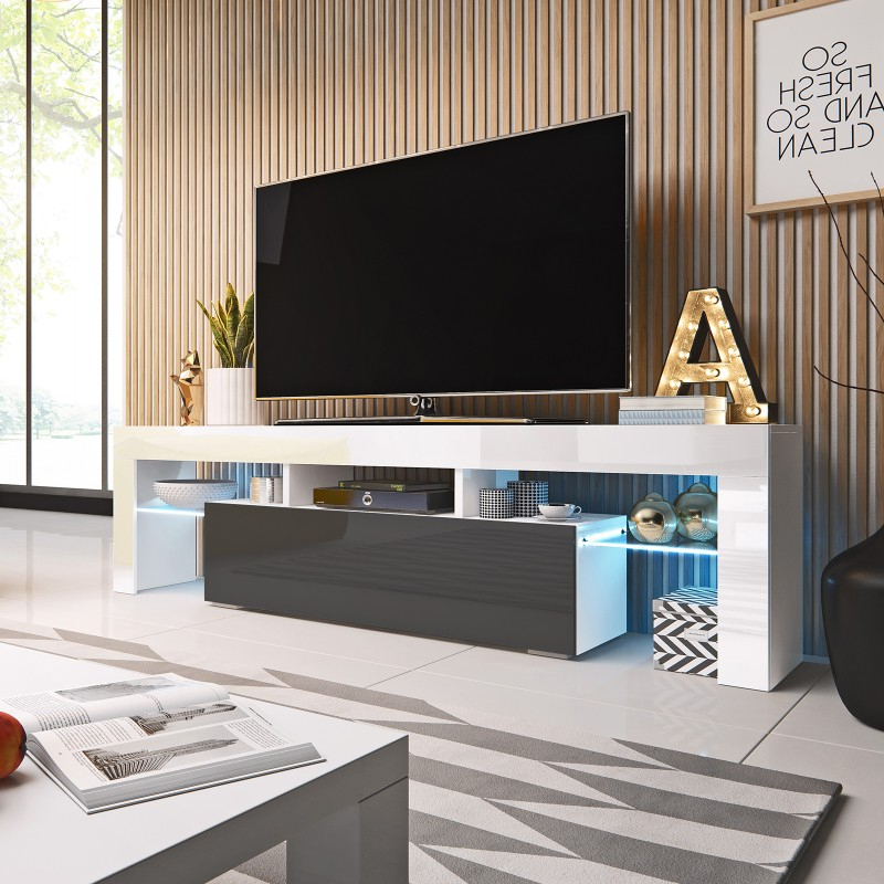 Bmf Toro Tv Stand 158cm Wide White Grey High Gloss Led Pertaining To Milano White Tv Stands With Led Lights (View 18 of 20)